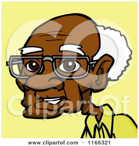 Cartoon of a Senior Black Man Avatar on Yellow - Royalty Free Vector Clipart by Cartoon Solutions