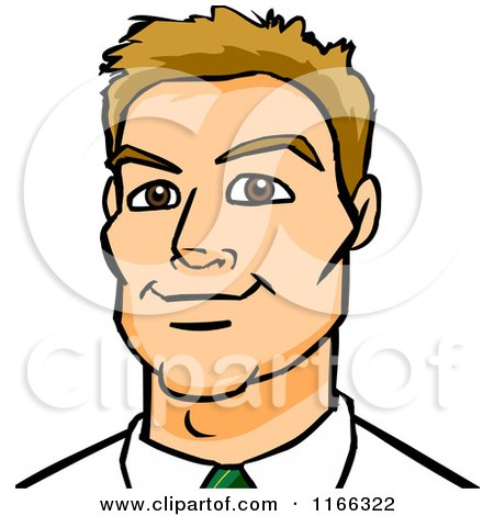 Cartoon of a Dirty Blond Business Man Avatar - Royalty Free Vector Clipart by Cartoon Solutions
