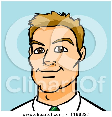 Cartoon of a Dirty Blond Business Man Avatar on Blue - Royalty Free Vector Clipart by Cartoon Solutions