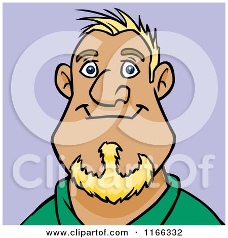 Cartoon of a Blond Man Avatar on Purple - Royalty Free Vector Clipart by Cartoon Solutions