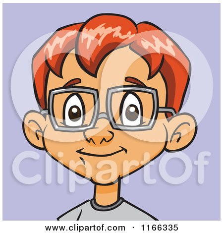 Cartoon of a Red Haired Bespectacled Boy Avatar over Purple - Royalty Free Vector Clipart by Cartoon Solutions