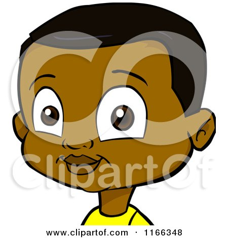 Cartoon of a Black Boy Avatar - Royalty Free Vector Clipart by Cartoon Solutions