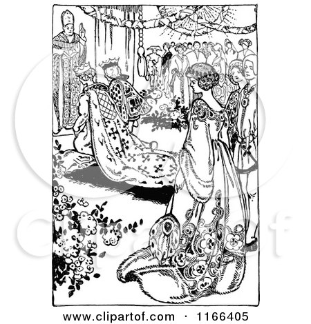 Clipart of a Retro Vintage Black and White Medieval Wedding - Royalty Free Vector Illustration by Prawny Vintage