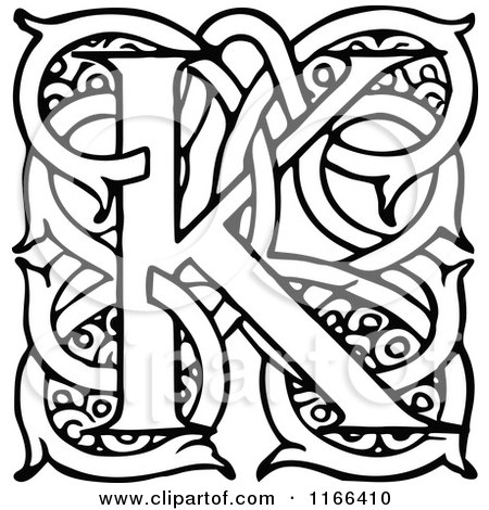 Clipart of a Retro Vintage Black and White Letter K with Vines - Royalty Free Vector Illustration by Prawny Vintage