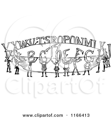 Clipart of Retro Vintage Black and White Alphabet People - Royalty Free Vector Illustration by Prawny Vintage