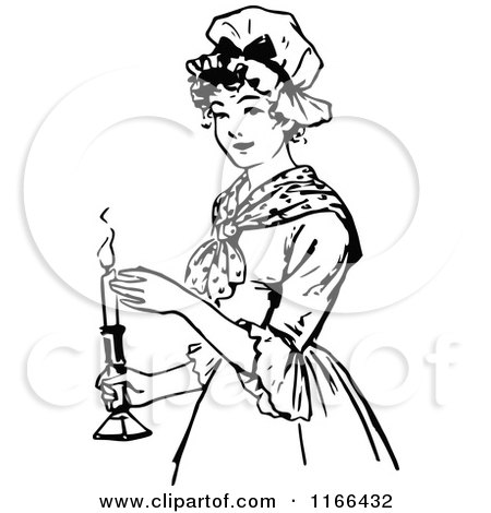 Clipart of a Retro Vintage Black and White Woman Holding a Candle - Royalty Free Vector Illustration by Prawny Vintage