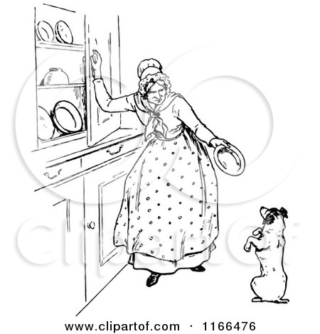 retro vintage black and white dog and old mother hubbard