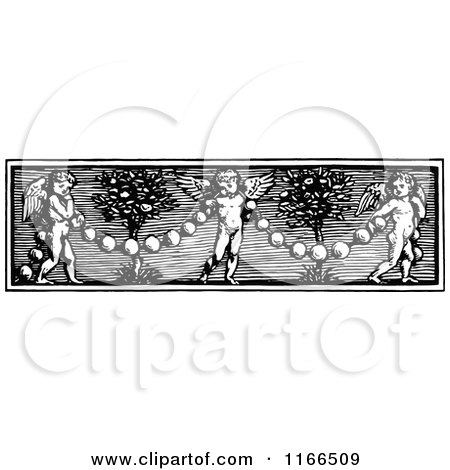 Clipart of a Retro Vintage Black and White Cherub and Garland Border - Royalty Free Vector Illustration by Prawny Vintage