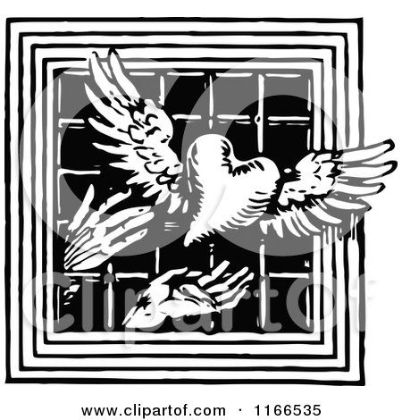 Clipart of Retro Vintage Black and White Hands Releasing a Winged Heart Through a Barred Window - Royalty Free Vector Illustration by Prawny Vintage