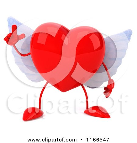 Clipart of a 3d Red Winged Heart with an Idea - Royalty Free CGI Illustration by Julos