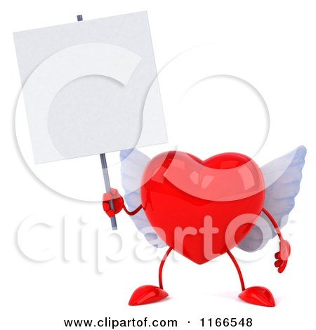 Clipart of a 3d Red Winged Heart Holding a Sign - Royalty Free CGI Illustration by Julos