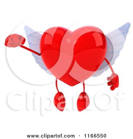 Clipart of a 3d Flying Red Winged Heart - Royalty Free CGI Illustration by Julos