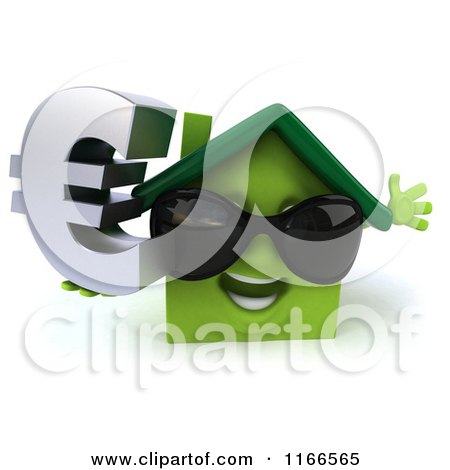 Clipart of a 3d Green House Wearing Shades and Holding a Euro Symbol 2 - Royalty Free CGI Illustration by Julos