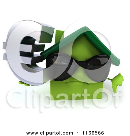 Clipart of a 3d Green House Wearing Shades and Holding a Euro Symbol - Royalty Free CGI Illustration by Julos