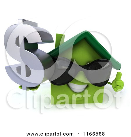 Clipart of a 3d Green House Wearing Shades and Holding a Dollar Symbol 2 - Royalty Free CGI Illustration by Julos