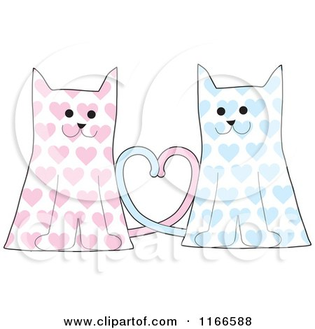 Cartoon of a Cat Couple with Pink and Blue Hearts and Their Tales Forming a Heart - Royalty Free Vector Clipart by Maria Bell
