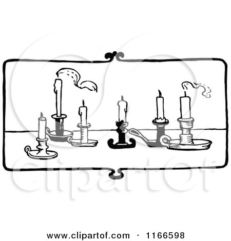 Clipart of Retro Vintage Black and White Candles on a Table - Royalty Free Vector Illustration by Prawny Vintage