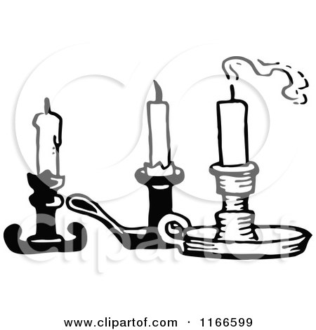 Clipart of Retro Vintage Black and White Candles - Royalty Free Vector Illustration by Prawny Vintage