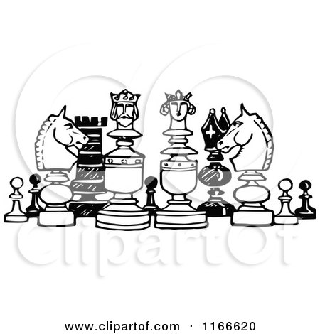 Clipart of Retro Vintage Black and White Chess Pieces - Royalty Free Vector Illustration by Prawny Vintage