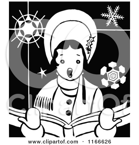 Clipart of a Retro Vintage Black and White Christmas Caroling Woman - Royalty Free Vector Illustration by Prawny Vintage