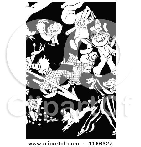 Clipart of Retro Vintage Black and White Circus Clowns - Royalty Free Vector Illustration by Prawny Vintage