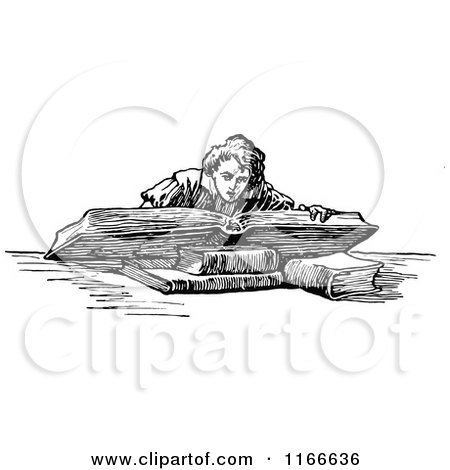 Clipart of a Retro Vintage Black and White Boy Reading a Giant Book - Royalty Free Vector Illustration by Prawny Vintage