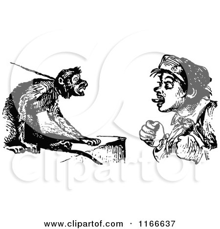 Clipart of a Retro Vintage Black and White Boy Teasing a Pet Monkey - Royalty Free Vector Illustration by Prawny Vintage
