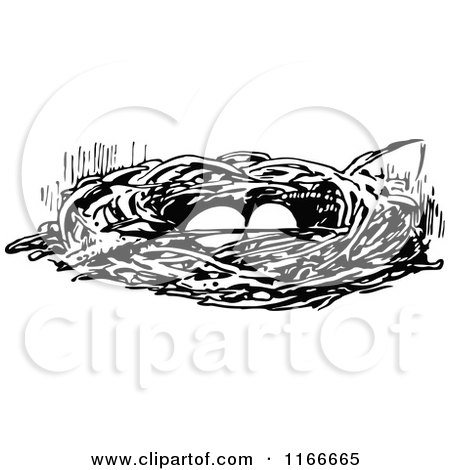 Clipart of a Retro Vintage Black and White Bird Nest with Eggs - Royalty Free Vector Illustration by Prawny Vintage