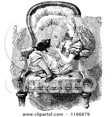 Clipart of Retro Vintage Black and White Alice and Kitten in a Chair - Royalty Free Vector Illustration by Prawny Vintage