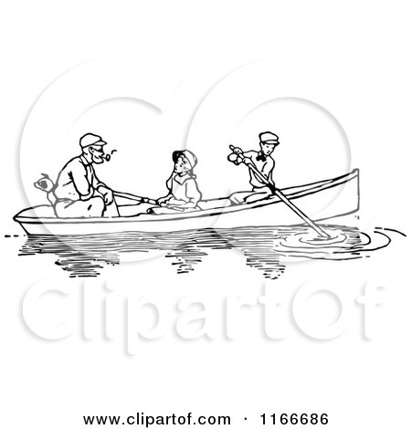 Clipart of a Retro Vintage Black and White Father Dog and Children Boating - Royalty Free Vector Illustration by Prawny Vintage