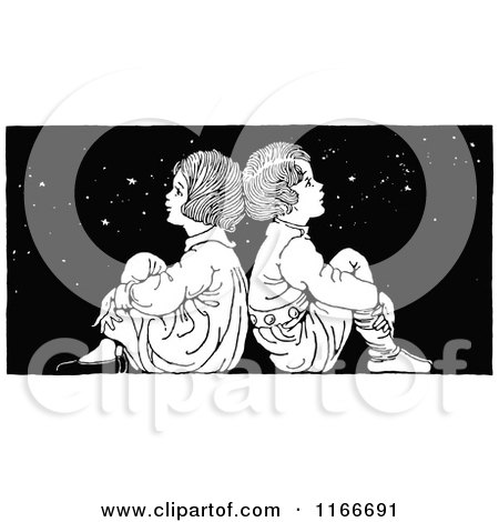 Clipart of a Retro Vintage Black and White Boy and Girl Sitting Back to Back Under the Stars - Royalty Free Vector Illustration by Prawny Vintage