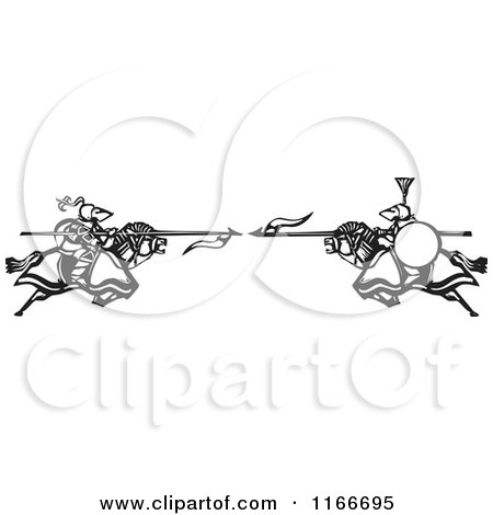 Clipart of Knights Charging with Spears Black and White Woodcut - Royalty Free Vector Illustration by xunantunich