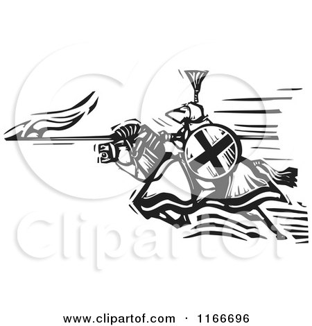 Clipart of a Knight Charging with a Spear Black and White Woodcut - Royalty Free Vector Illustration by xunantunich