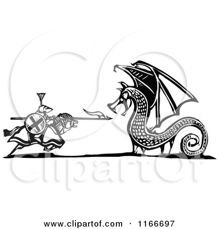 Clipart of a Knight Battling a Dragon Black and White Woodcut - Royalty Free Vector Illustration by xunantunich