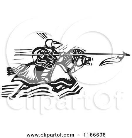 Clipart of a Horseback Knight Charging with a Spear Black and White Woodcut - Royalty Free Vector Illustration by xunantunich