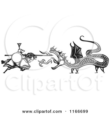 Clipart of a Knight Battling a Fire Breathing Dragon Black and White Woodcut - Royalty Free Vector Illustration by xunantunich