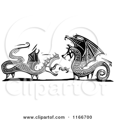 Clipart of Two Dragons Black and White Woodcut - Royalty Free Vector Illustration by xunantunich