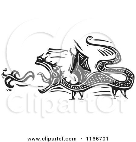 Clipart of a Fire Breathing Dragon Black and White Woodcut - Royalty Free Vector Illustration by xunantunich