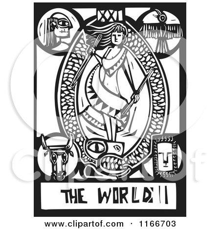 Clipart of the World Tarot Card Black and White Woodcut - Royalty Free Vector Illustration by xunantunich