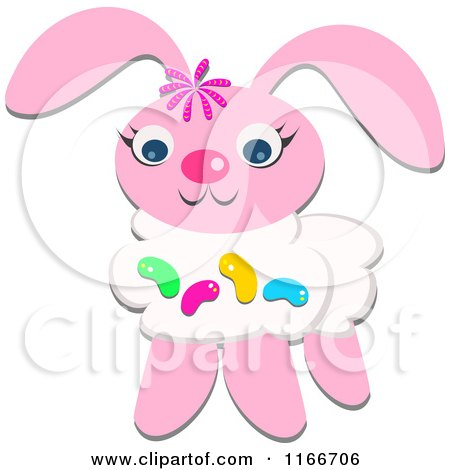 Cartoon of a Pink Easter Bunny with Jelly Beans - Royalty Free Vector Clipart by bpearth