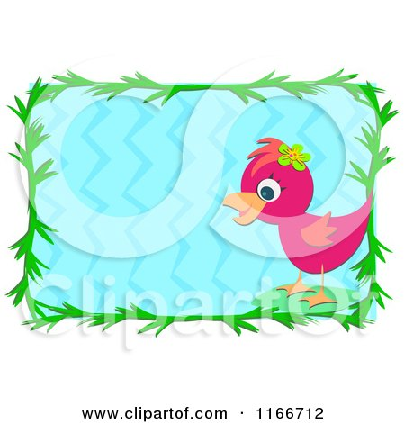 Cartoon of a Pink Bird and Green Leaf Frame Around Blue Water - Royalty Free Vector Clipart by bpearth