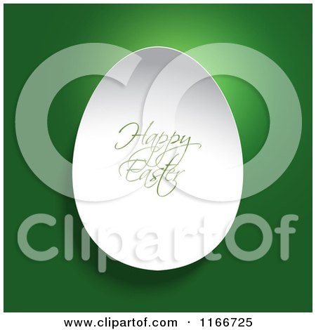 Clipart of a 3d White Egg with Happy Easter Text on Green - Royalty Free Vector Illustration by KJ Pargeter