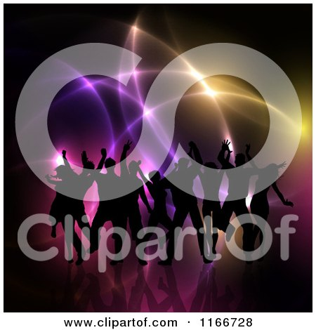 Clipart of Silhouetted People Dancing over Glowing Lights - Royalty Free Vector Illustration by KJ Pargeter