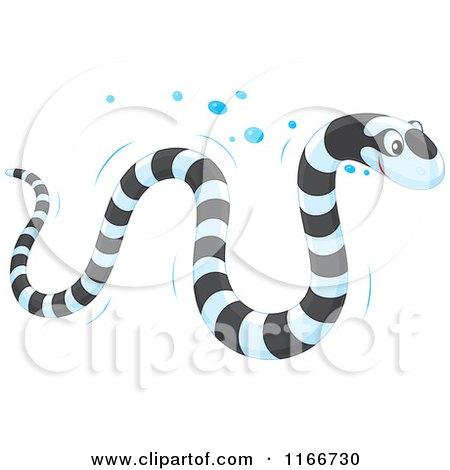 Cartoon Of A Banded Sea Kraits Snake Royalty Free Vector Clipart