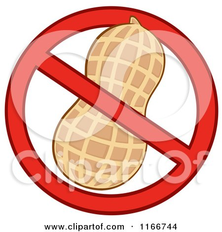 Cartoon of a Peanut Restricted Symbol - Royalty Free Vector Clipart by Hit Toon