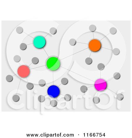 Clipart of a Colorful Cluster Network on Gray - Royalty Free Illustration by oboy