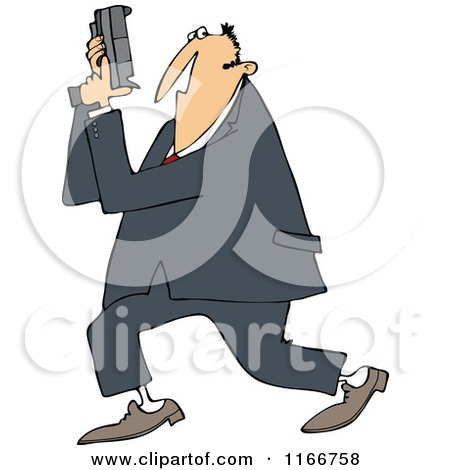 Cartoon of a Secret Agent Man Holding up His Firearm - Royalty Free Vector Clipart by djart