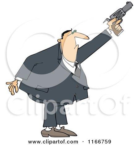 Cartoon of a Secret Agent Man Shooting His Firearm - Royalty Free Vector Clipart by djart