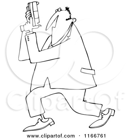 Cartoon of an Outlined Secret Agent Man Holding up His Firearm - Royalty Free Vector Clipart by djart