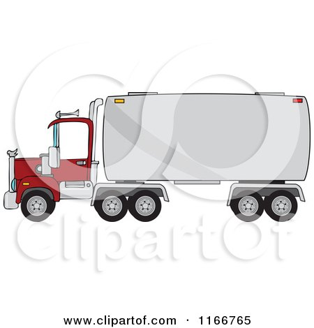 Cartoon of a Big Rig Tanker Truck - Royalty Free Vector Clipart by djart